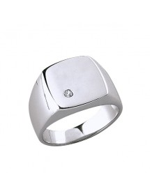 Rhodium silver signet ring with zirconium oxide 3110009 Laval 1878 84,00 €