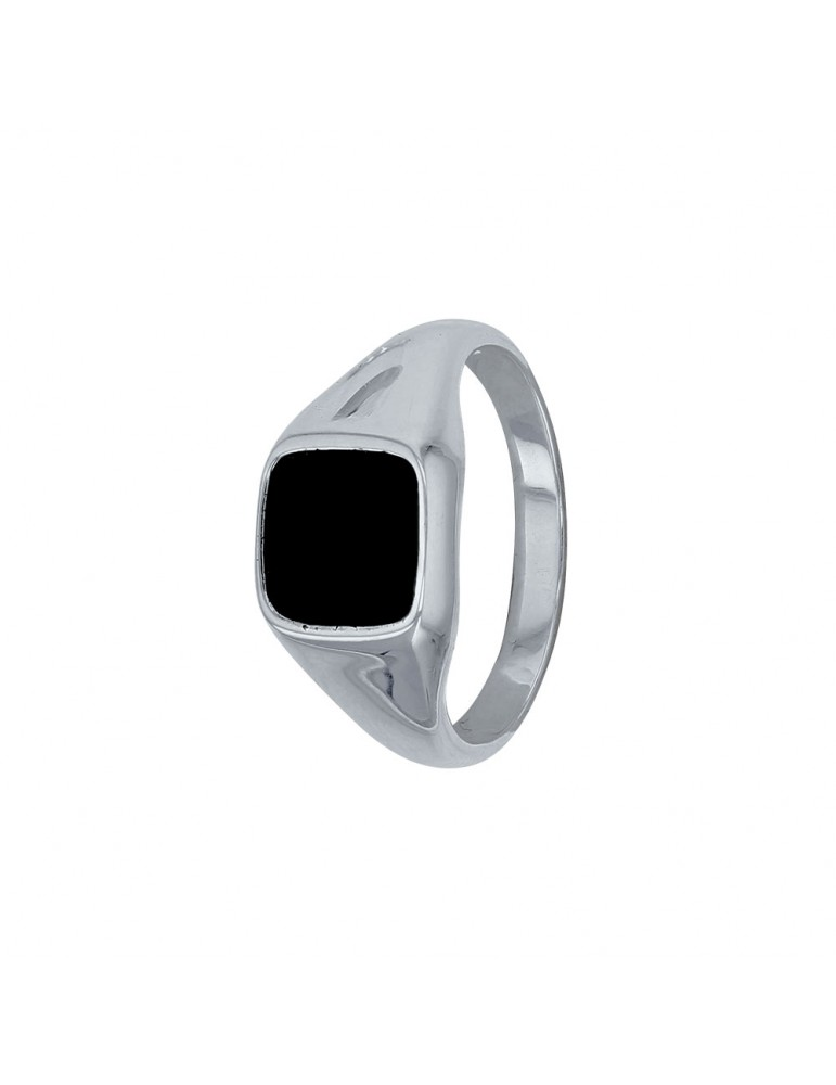 Solid silver ring square shape and covered with black onyx 311224 Laval 1878 54,00€