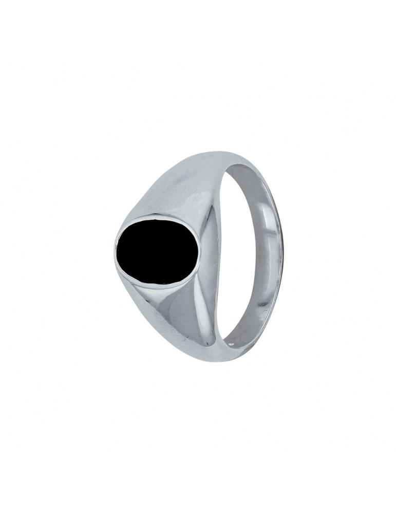 Chevalière en argent massif forme ovale et recouverte d'onyx noir 66,00€ 66,00€