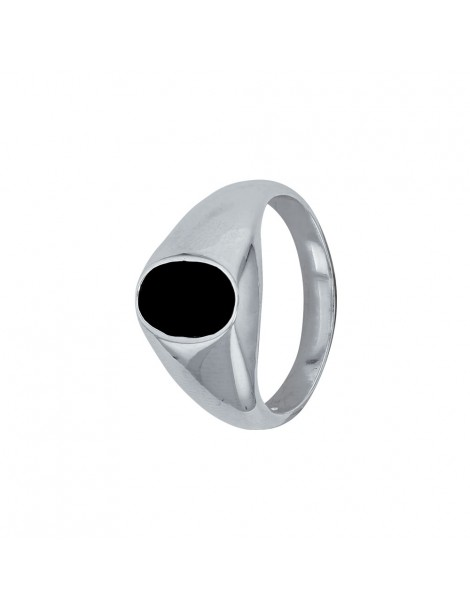 Solid silver ring oval shape and covered with black onyx 311225 Laval 1878 66,00€