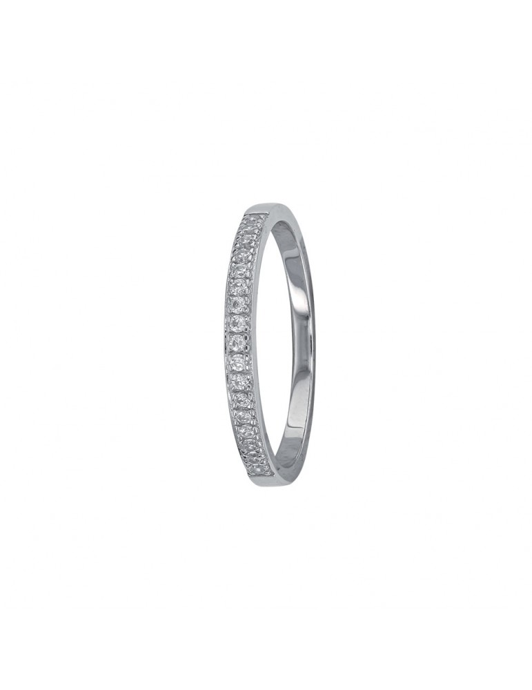 Half-turn alliance in rhodium silver 2 mm decorated with zirconium oxides 311553 Laval 1878 38,00€