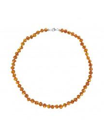 Collier avec des perles d'ambre rondes fermoir en argent 52,00€ 52,00€