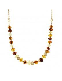 Collier de pierres d'ambre et boules ajourées en argent doré 31710625 Nature d'Ambre 132,00€
