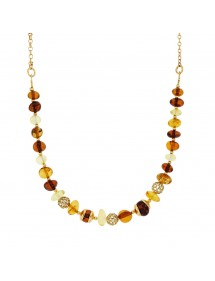 Necklace of amber stones and openwork balls in yellow silver 31710625 Nature d'Ambre 132,00 €