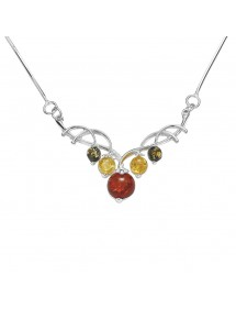 Silver arabesque necklace decorated with amber stones 3178101 Nature d'Ambre 86,00 €