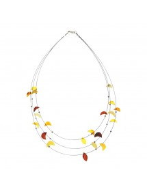 Nylon cord necklace 3 rows of amber stones in the shape of a moon 31710471 Nature d'Ambre 32,00 €