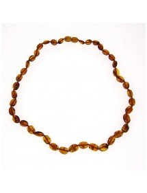 Necklace of oval stones in cognac amber, amber screw clasp 31710473 Nature d'Ambre 56,90 €
