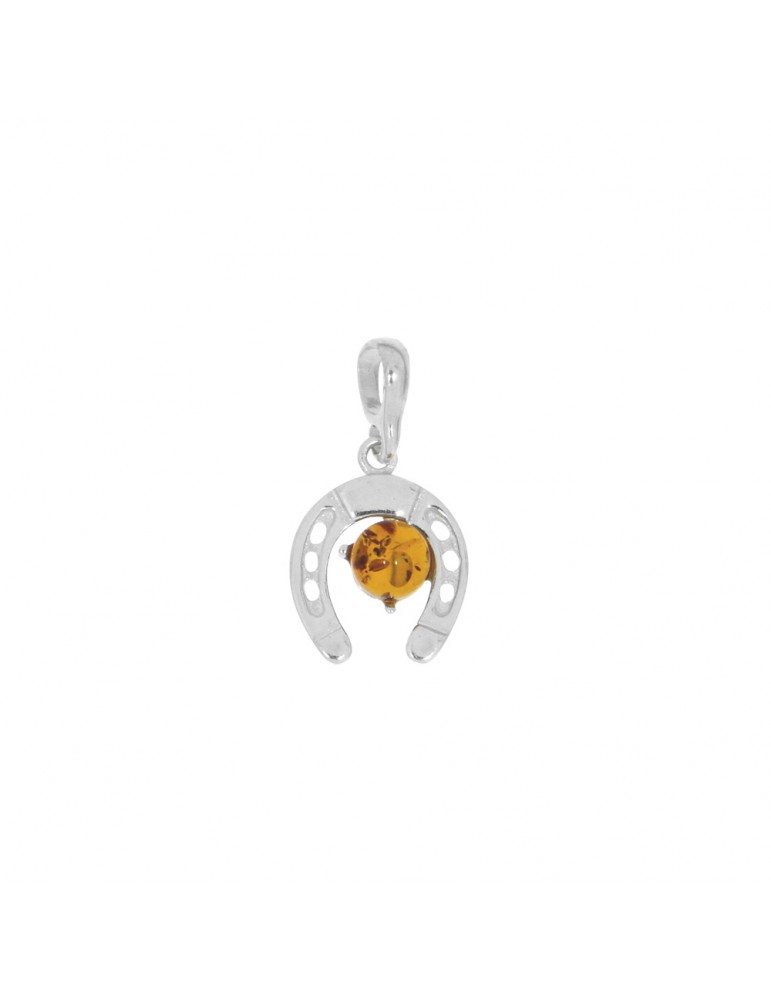 Horseshoe pendant in amber and rhodium silver 31610421RH Nature d'Ambre 32,00€