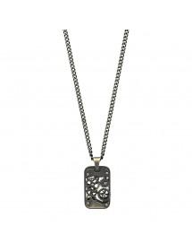 Collier forme rectangle avec rouages découpés en acier 317415 One Man Show 59,90€