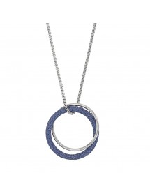 Double round steel necklace, 1 steel and 1 blue glitter 317251BL One Man Show 86,00 €
