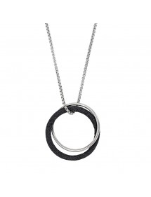 Round double steel necklace, one with black glitter and one steel 317251N One Man Show 56,00 €