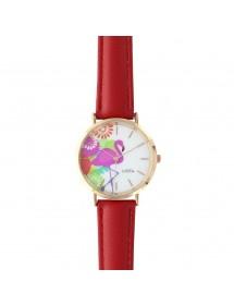 Montre Lutetia motif flamant rose, bracelet synthétique rouge 750141R Lutetia 54,00€