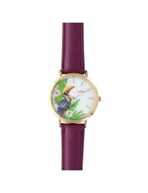 Montre Lutetia motif toucan, bracelet synthétique violet 750140V Lutetia 59,90€