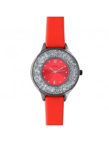 Lutetia red watch, anthracite gray metal case, dial with stones 750128R Lutetia 59,90€