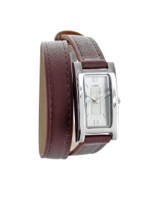 Lutetia chocolate watch, rectangle case and double leather strap 750112C Lutetia 54,00 €