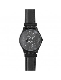 Lutetia black watch with metal case, rhinestones and leather strap 750124N Lutetia 54,00 €