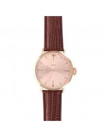 Montre Lutetia cadran doré rose et bracelet marron aspect crocodile 54,90€ 54,90€
