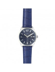 Lutetia watch with dato, metal case, crocodile look blue strap 750149SB Lutetia 79,90 €