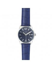 Montre Lutetia avec dato, boîtier métal, bracelet bleu aspect croco 79,90€ 79,90€