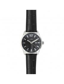 Montre Lutetia avec dato, boîtier métal, bracelet noir aspect croco 79,90€ 79,90€