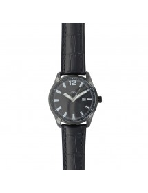 Lutetia watch with dato, black case, crocodile-look black strap 750149NN Lutetia 79,90 €