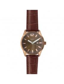 Montre Lutetia avec dato, boitier métal, bracelet marron aspect croco 750149MM Lutetia 79,90€