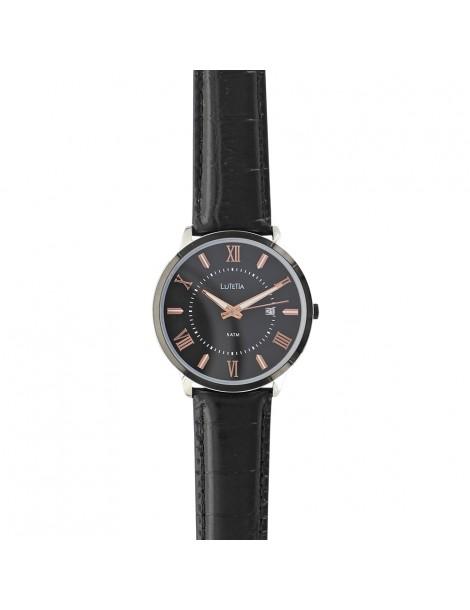 Montre homme Lutetia, chiffres romains, bracelet noir, étanche 50 m 750151SN Lutetia 99,90€