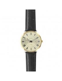 Montre Lutetia boîtier doré, chiffres romains et dato, bracelet noir aspect croco - Étanche 50 m 750151DCH Lutetia 99,90€