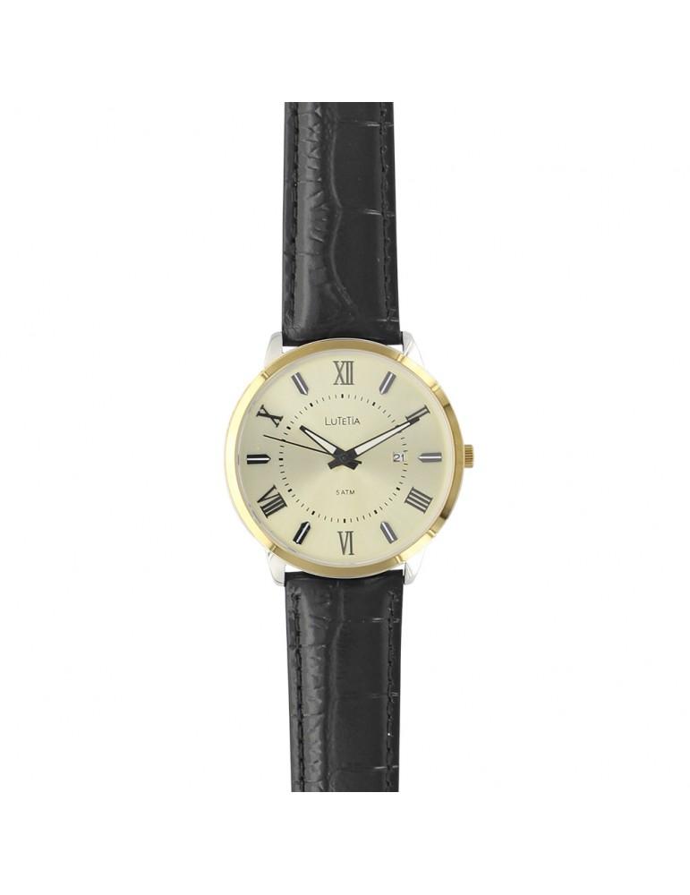 Lutetia men's watch, Roman numerals, gold case, waterproof 50 m 750151DCH Lutetia 99,90€