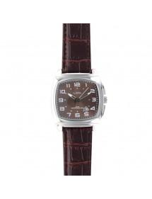 Montre Lutetia boîtier coussin métal, bracelet marron aspect croco 750147SM Lutetia 69,90€