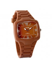 One Man Show watch, rectangle shape and chocolate silicone bracelet 752640CH One Man Show 29,90 €