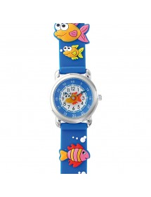DOMI educational watch, Fish pattern, blue silicone bracelet 753954 DOMI 29,90 €