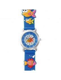 Montre pédagogique DOMI, motif Poissons, bracelet silicone bleu 753954 DOMI 32,90€