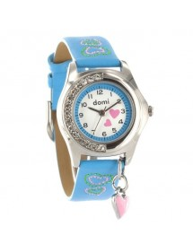 DOMI Pedagogical watch Hearts and rhinestones, blue synthetic bracelet 39,90 € 39,90 €