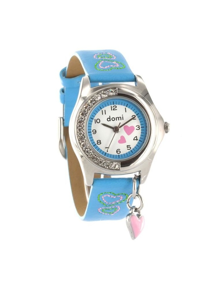 DOMI Pedagogical watch Hearts and rhinestones, blue synthetic bracelet 752990 DOMI 39,90€