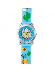 DOMI educational watch, Cow-Boy motif, sky blue silicone bracelet 753983 DOMI 39,90 €