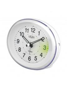 Réveil LAVAL ovale blanc à quartz avec lumière verte et fonction snooze 18,00€ 18,00€