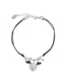 Bracelet cordon noir avec Agathe noir et Nacre blanche 19,90€ 19,90€