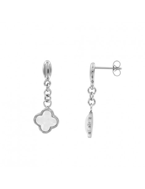 Steel and white ceramic pendant earrings 3131351B One Man Show 24,00€