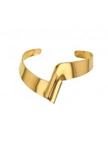 Pulsera recta de forma curvada en acero amarillo. 318089 One Man Show 49,00€