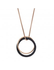 Pink steel necklace with 2 rings including a black glitter 317251RN One Man Show 56,00€