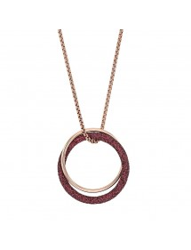 Pink steel necklace with 2 rings including a glittery plum 317251RP One Man Show 86,00 €