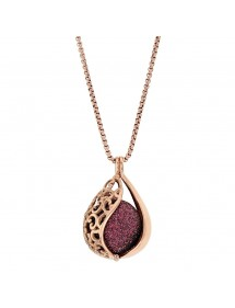 Pink steel necklace, openwork drop and sequined plum ball 317253RP One Man Show 69,90€