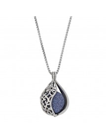 Steel necklace, perforated drop shape and blue glitter ball 317253BL One Man Show 69,90€