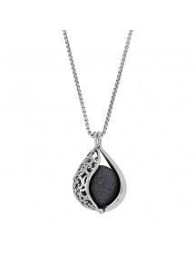 Steel necklace, perforated drop shape and black sequined ball 317253N One Man Show 69,90 €