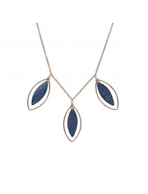 Leaf shaped necklace in pink steel and glittery blue 31710420R One Man Show 63,90€