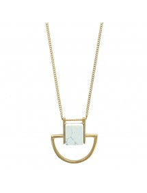 Golden steel necklace with imitation marble synthetic stone 317422 One Man Show 54,00€