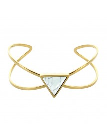 Yellow steel triangle and marble imitation stone bracelet 318375 One Man Show 39,90 €