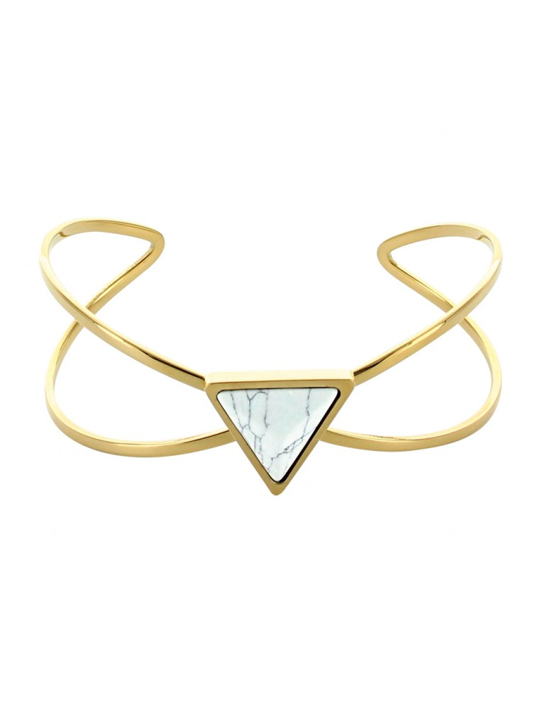 Yellow steel triangle and marble imitation stone bracelet 318375 One Man Show 39,90€