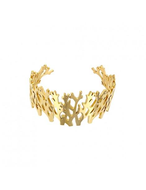Bracelet manchette inspiration ramure en acier doré 318022D One Man Show 62,00€